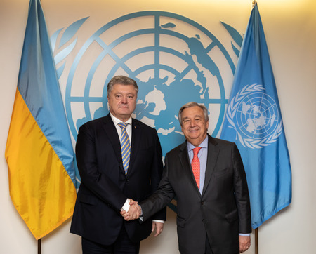 New York, USA - Sep 24, 2018: President of Ukraine Petro Poroshenko and UN Secretary General Antonio Guterres at the 73th session of the UN General Assembly in New York