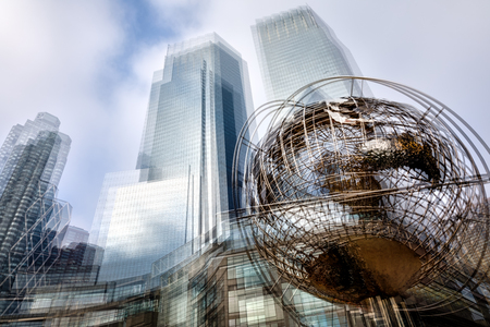 Abstract image of iconic sculpture of Earth in front of Trump Towers at Columbus Circle in Manhattan
