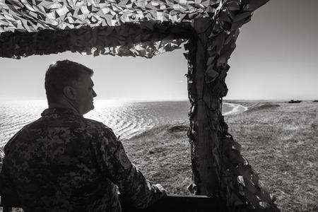 DONETSK REG, UKRAINE - Okt. 12, 2018: President of Ukraine Petro Poroshenko during сombat training of the Armed Forces of Ukraine in Donetsk region