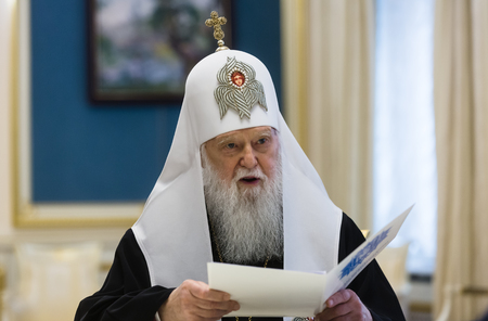 KIEV, UKRAINE - Okt 16, 2018: Patriarch Filaret personally congratulated the President Poroshenko on the decision of the Synod of the Ecumenical Patriarchate on Autocephaly of the Ukrainian Church