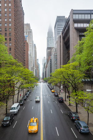 New York, USA - May 03, 2016: w 42 street and Chrysler building. Manhattan modern architecture. Manhattan is the most densely populated of the five boroughs of New York City