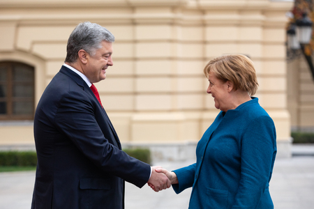 KIEV, UKRAINE - Nov 01, 2018: President of Ukraine Petro Poroshenko and Federal Chancellor of the Federal Republic of Germany Angela Merkel during a meeting in Kiev
