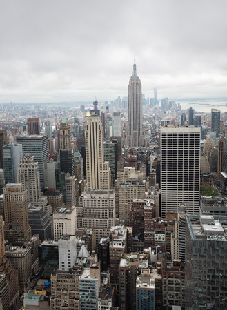 NEW YORK, USA - May 03, 2016: New York skyline. Aerial view over Manhattan with Empire State Building. Manhattan is the most densely populated of the five boroughs of NYC