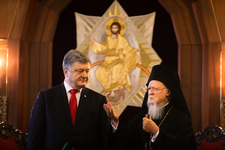 Istanbul, Turkey - Nov 03, 2018: Ecumenical Patriarchate and His All-Holiness Ecumenical Patriarch Bartholomew during a meeting with President of Ukraine Petro Poroshenko 에디토리얼