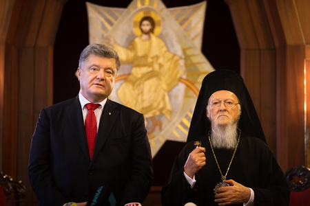 Istanbul, Turkey - Nov 03, 2018: Ecumenical Patriarchate and His All-Holiness Ecumenical Patriarch Bartholomew during a meeting with President of Ukraine Petro Poroshenko Editorial