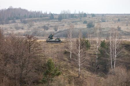 ZHYTOMYR Reg, UKRAINE - Nov. 21, 2018: Combat training at the training center of the airborne troops of the Ukrainian Armed Forces in Zhytomyr region Editöryel