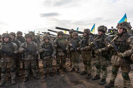 ZHYTOMYR Reg, UKRAINE - Nov. 21, 2018: Combat training at the training center of the airborne troops of the Ukrainian Armed Forces in Zhytomyr region Editorial