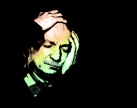 Old man suffering from a headache. High contrast image of an elderly man. Contemporary art and poster style image.