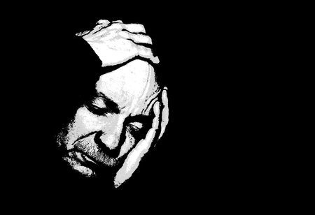 Elderly man suffering from a headache. Contemporary art and poster style image. Stok Fotoğraf
