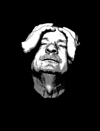 Pain. Elderly man suffering from a headache. Contemporary art and poster style image. Imagens