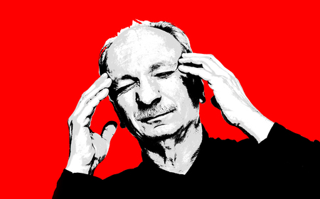 Elderly man suffering from a headache. High contrast image of an elderly man. Black white image with red background. Contemporary art and poster style image. Stok Fotoğraf