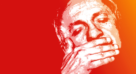 An elderly man with closed eyes. Elderly man suffering from a headache. Contemporary art and poster style image.