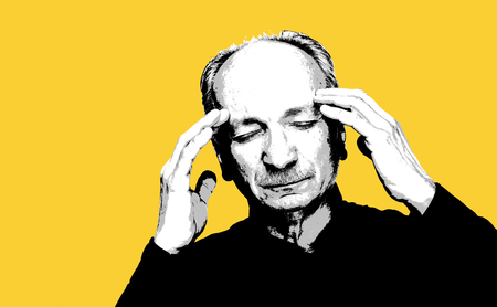 Elderly man suffering from a headache. High contrast image of an elderly man with copy space. Contemporary art and poster style image.