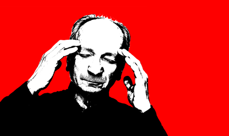 High contrast image of an elderly man. Black white image with red background. Contemporary art and poster style image.