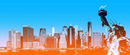 Symbols of New York. Manhattan Skyline and The Statue of Liberty  NYC. Contemporary art and poster style image with a gradient color from blue to orange