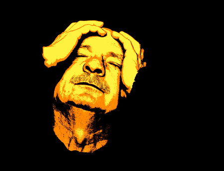 Pain. Elderly man suffering from a headache. Contemporary art and poster style image. Stok Fotoğraf