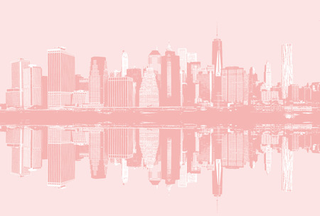 Abstract image of manhattan. Morning New York City skyline panorama with reflections. Contemporary art and poster style in light pink tonality Stock Photo