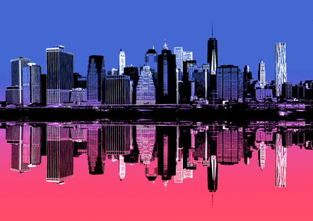 Abstract image of manhattan. Morning New York City skyline panorama with reflections. Contemporary art and poster style in pink and blue Stock Photo