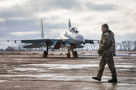 ZHYTOMYR Reg, UKRAINE - Dec. 06, 2018: President Poroshenko visited training center of the airborne troops of AFU in Zhytomyr region and congratulated the military on the Day of the Armed Forces