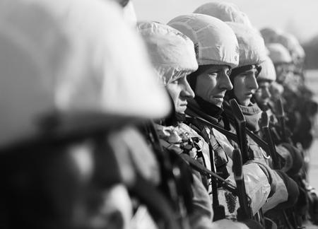ZHYTOMYR Reg, UKRAINE - Dec. 06, 2018: Assault Forces of the Armed Forces of Ukraine during the working visit of the president of Ukraine Petro Poroshenko to Zhytomyr region