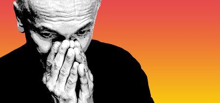 Elderly man covers his face with hand. Old man feeling tired and headache. Strong headache. Black white image with red yellow gradient background. Contemporary art poster style image with copy space