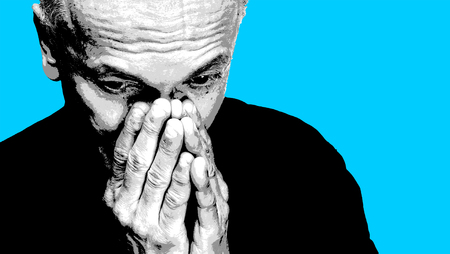 Elderly man covers his face with hand. Old man feeling tired and headache. Strong headache. Black white image with blue background. Contemporary art poster style image with copy space