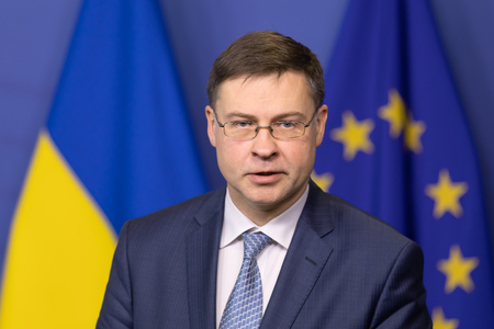 BRUSSELS, BELGIUM - Dec 13, 2018: European Commission Vice-President for the Euro and Social Dialogue Valdis Dombrovskis during a joint press conference with the President of Ukraine Petro Poroshenko