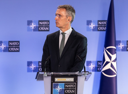 BRUSSELS, BELGIUM - Dec 13, 2018: Portrait of NATO Secretary General Jens Stoltenberg during a joint briefing with President of Ukraine Petro Poroshenko Editorial