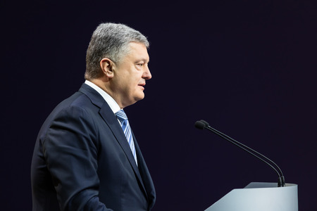 KIEV, UKRAINE - Dec. 16, 2018: President of Ukraine Petro Poroshenko during a press conference in Kiev