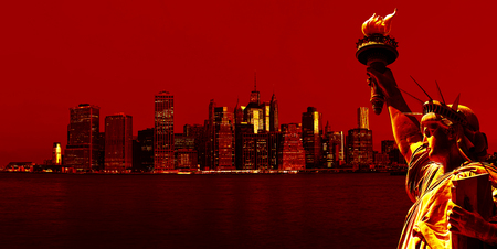 Symbols of New York. Manhattan Skyline and The Statue of Liberty, New York City. Image in dramatic dark red tonality