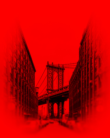 Manhattan Bridge and Empire State Building seen from Brooklyn, New York. Image in red tonality Foto de archivo