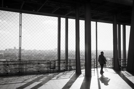 PARIS, FRANCE - Nov 07, 2017: Eiffel Tower Observation Deck. Tourists at the Eiffel Tower in Paris