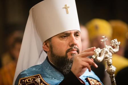 KIEV, UKRAINE - Feb. 03, 2019: Liturgy and enthronement of Primate of the Orthodox Church of Ukraine, Metropolitan of Kyiv and All Ukraine Epifaniy 에디토리얼