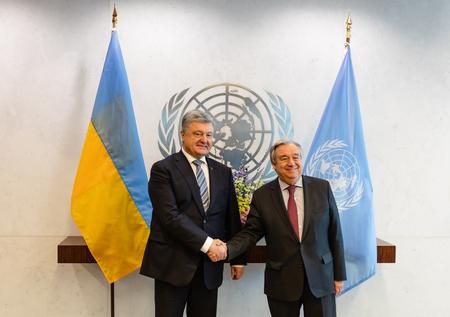 NEW YORK, USA - Feb 20, 2019: President of Ukraine Petro Poroshenko and UN Secretary General Antonio Guterres at the UN General Assembly in New York