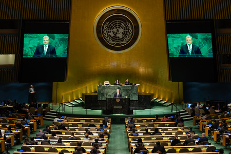 NEW YORK, USA - Feb 20, 2019: President of Ukraine Petro Poroshenko speaks at the UN General Assembly in New York