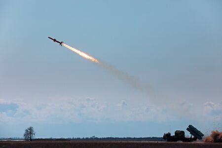 ODESSA, UKRAINE - Apr 05, 2019: Tests of the newest Ukrainian development of a ground-based cruise missile complex for defeating the marine and coastal targets, at the test site in the Odessa region