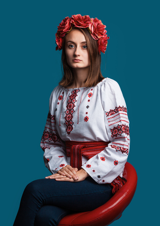 Portrait of a beautiful young girl in the Ukrainian national suit