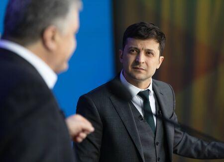 KYIV, UKRAINE - Apr 19, 2019: Pre-election debate at NSC Olimpiyskyi. President of Ukraine Petro Poroshenko during the debate with presidential candidate Volodymyr Zelensky at NSC Olimpiyskyi Editorial