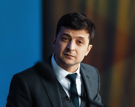 KYIV, UKRAINE - Apr 19, 2019: Newly elected President of Ukraine Vladimir Zelensky during pre-election debates at NSC Olimpiyskyi.