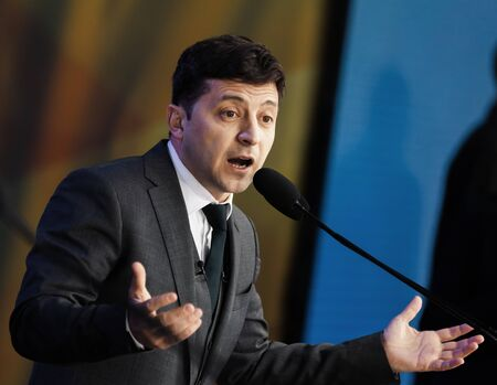 KYIV, UKRAINE - Apr 19, 2019: Newly elected President of Ukraine Vladimir Zelensky during pre-election debates at NSC Olimpiyskyi.