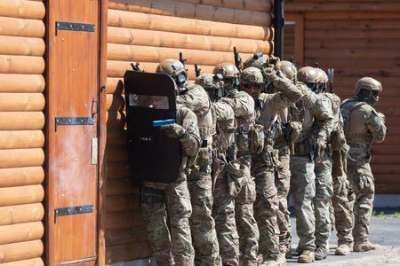 CHERKASY Reg, UKRAINE - May 03, 2019: Demonstrative performances by border guards on the territory of the Main Personnel Training Center of the State Border Service of Ukraine