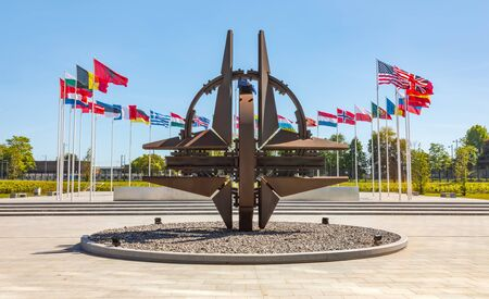 BRUSSELS, BELGIUM - May 13, 2019: Nato star sculpture in Brussels. NATO Headquarters - Political and Administrative Center for the North Atlantic Alliance Editorial