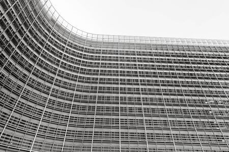 BRUSSELS, BELGIUM - May 14, 2019: Brussels European Commission. The Berlaymont is an office building that houses the headquarters of the European Commission. Black and white image Sajtókép