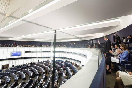 STRASBOURG, FRANCE - 18 Jul 2019:Former President of Ukraine Petro Poroshenko during the plenary session of the European Parliament in Strasbourg