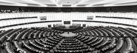 STRASBOURG, FRANCE - 18 Jul 2019: Plenary room of the European Parliament in Strasbourg
