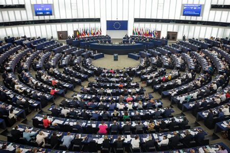 STRASBOURG, FRANCE - 18 Jul 2019: Plenary room of the European Parliament in Strasbourg Banco de Imagens - 130700899