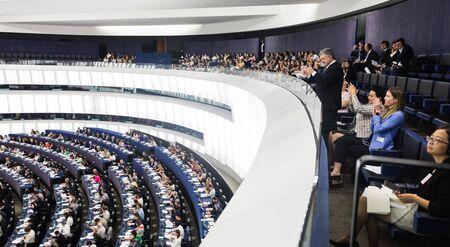 STRASBOURG, FRANCE - 18 Jul 2019: Former President of Ukraine Petro Poroshenko during the plenary session of the European Parliament in Strasbourg