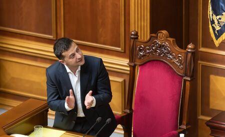 KYIV, UKRAINE - Sep. 03, 2019: President of Ukraine Volodymyr Zelensky during the session of the Verkhovna Rada of Ukraine Editorial