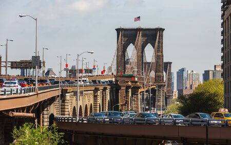 NEW YORK, USA - Apr 27, 2016: Brooklyn Bridge is a hybrid cable-stayed suspension bridge in New York City and is one of the oldest bridges of either type in the United States