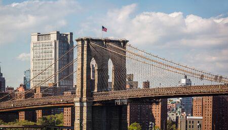 NEW YORK, USA - Apr 27, 2016: Manhattan. New York City skyline panorama with Brooklyn Bridge